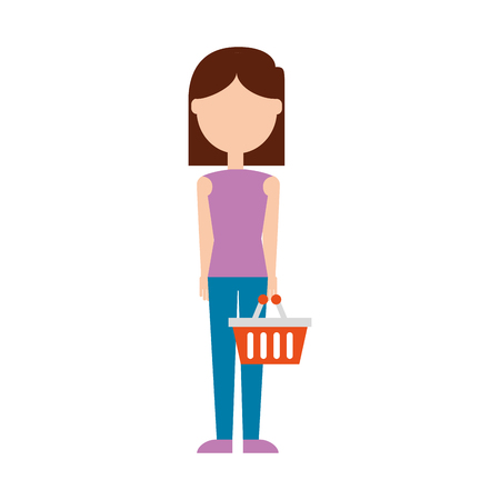 woman with trolley basket empty plastic at supermarket vector illustration