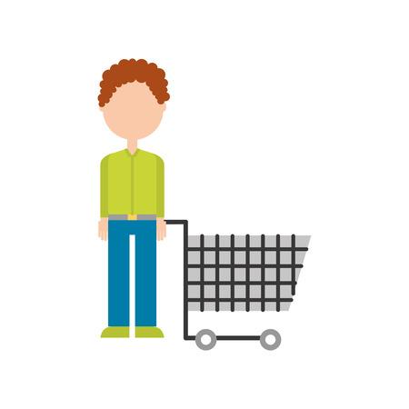 若い男はトロリーショッピング顧客ベクトルイラストを押します