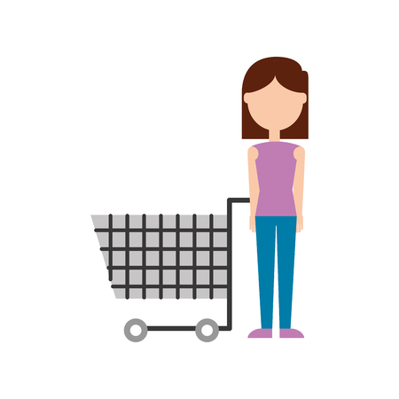 woman with shopping cart supermarket empty vector illustration