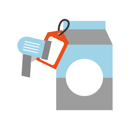 juice box carton drinking price tag and barcode scanner vector illustration
