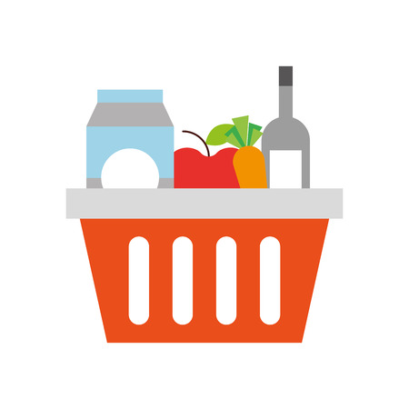 basket shopping with bottles drink products icon vector illustration Stock Vector - 85357833