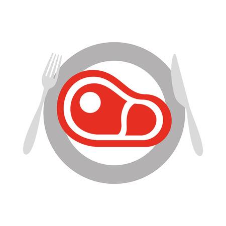 フォーク ナイフのベクトル図と皿の上レストラン ステーキ牛肉新鮮な食