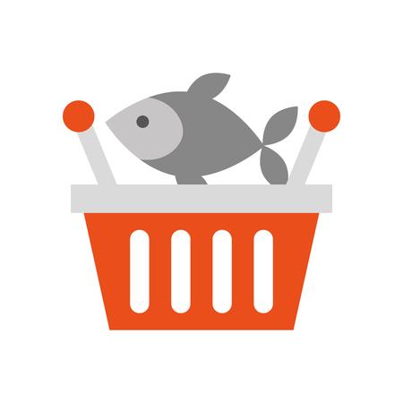 바구니 쇼핑 신선한 생선 시장 해산물 벡터 일러스트 레이션