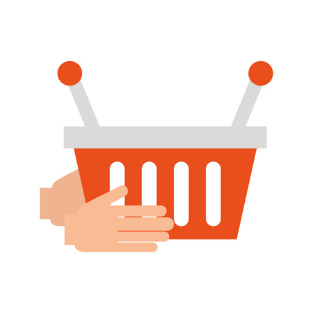 hand holding basket shopping empty vector illustration