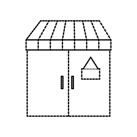 facade door store grocery glass board vector illustration Иллюстрация