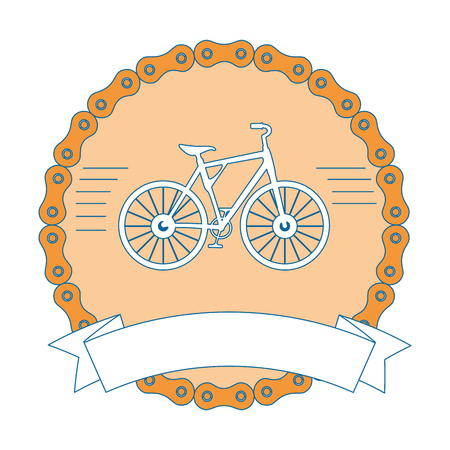 elegant frame chain with bicycle vehicle vector illustration design