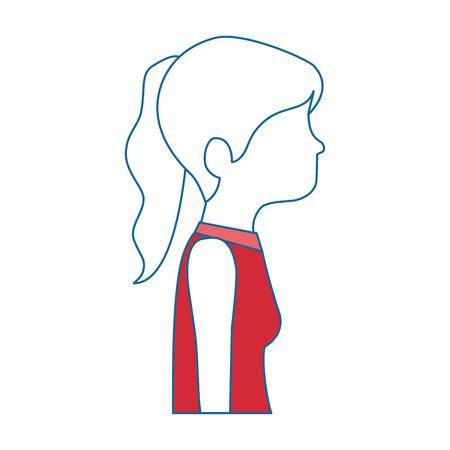 beautiful woman profile avatar character vector illustration design
