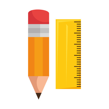 pencil school with rule vector illustration design Illusztráció
