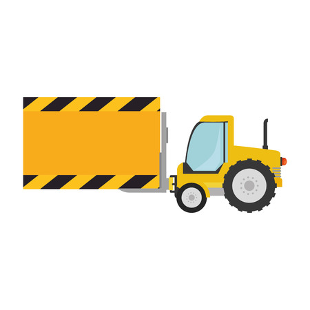 forklift vehicle with board construction vector illustration design
