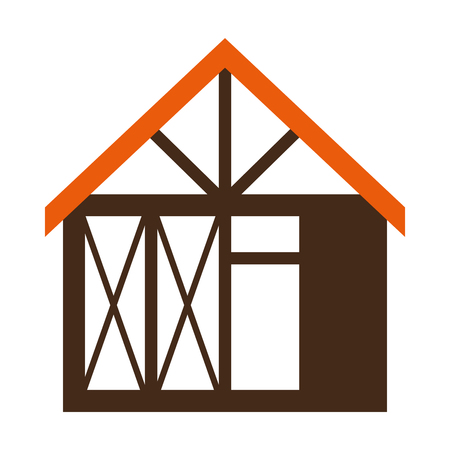 wooden house structure icon vector illustration design