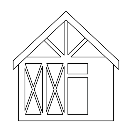 木造住宅構造アイコンベクトルイラストデザイン  イラスト・ベクター素材