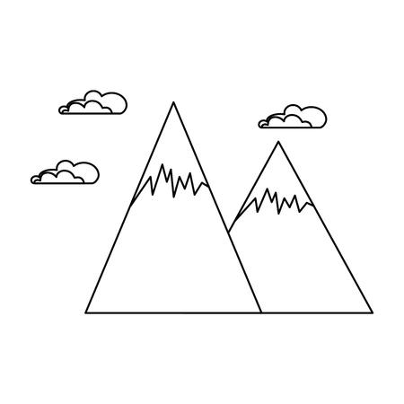 눈 덮인 산들 고립 된 아이콘 벡터 일러스트 디자인 일러스트