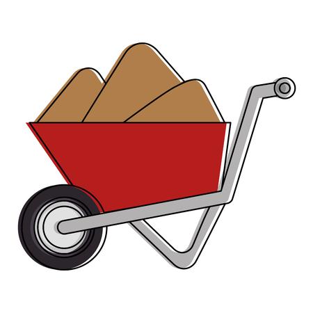 wheelbarrow construction with sand vector illustration design