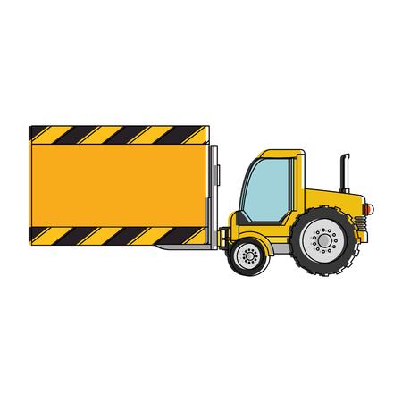 fork lifts trucks: forklift vehicle with board construction vector illustration design