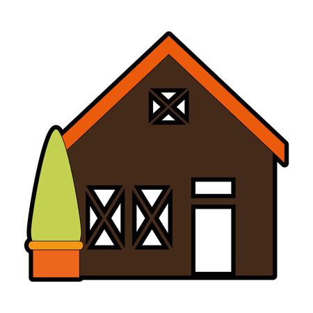Holzhaus Struktur mit Baum Vektor-Illustration Design Standard-Bild - 85365320
