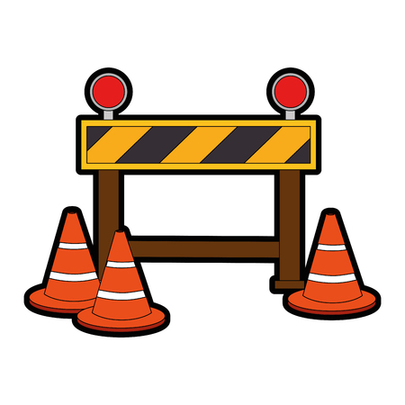 Construcción valla señal icono ilustración vectorial diseño Foto de archivo - 85365742