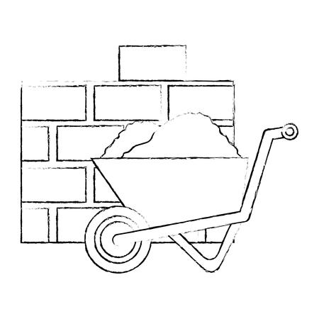 wheelbarrow construction with bricks wall vector illustration design