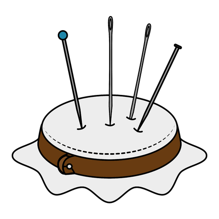 embroidery drum with pins and needles vector illustration design