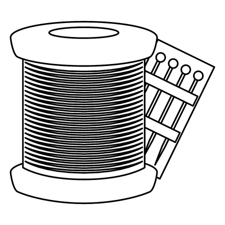 sewing thread tubes with pins vector illustration design Ilustração