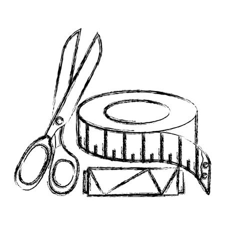 가 위 및 테이프 측정 값 벡터 일러스트 디자인 바느질 스레드 튜브