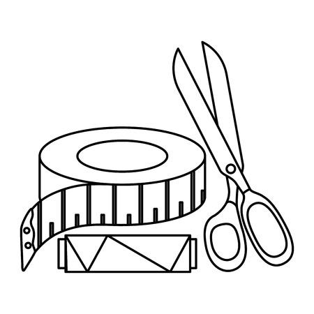 はさみが付いている糸の管を縫うことおよびテープ測定のベクトルイラストの設計  イラスト・ベクター素材