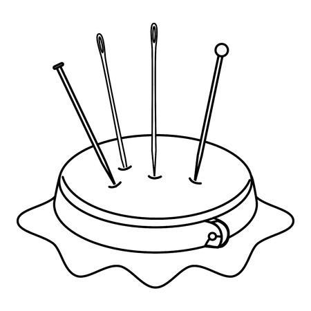borduurwerktrommel met spelden en naalden vectorillustratieontwerp