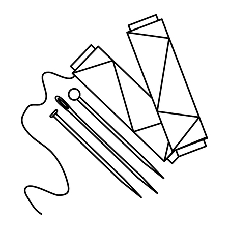 sewing thread tubes with needles and pins vector illustration design