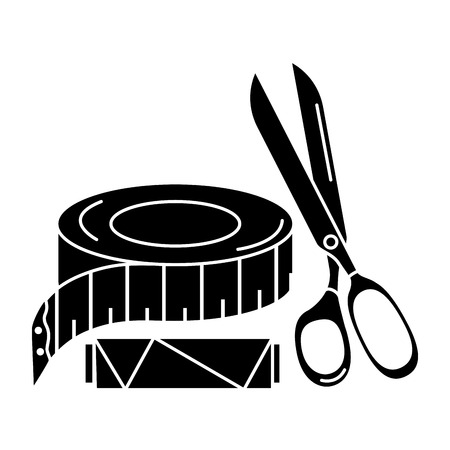 textile industry: sewing thread tubes with scissors and tape measure vector illustration design