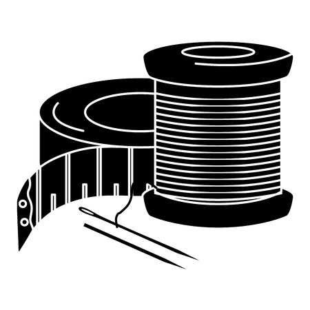 sewing thread tubes with needle and tape measure vector illustration design