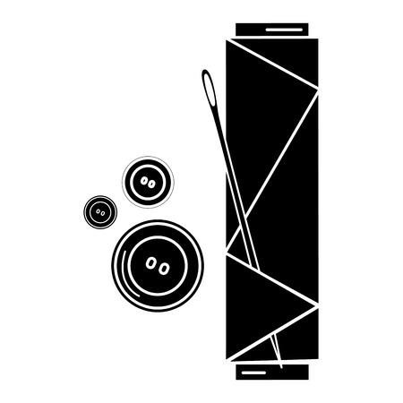 바늘과 단추 아이콘 벡터 일러스트 디자인 바느질 스레드 튜브