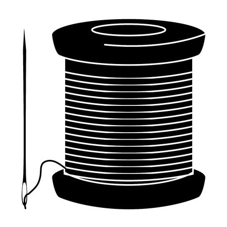 sewing thread tubes with needle vector illustration design