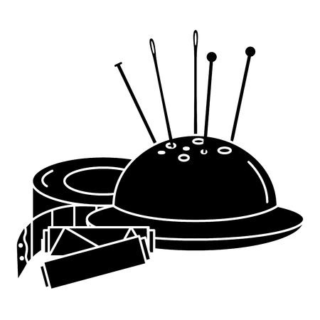 Tubi di filo per cucire con pincushion e misura di nastro design illustrazione vettoriale Archivio Fotografico - 85362831