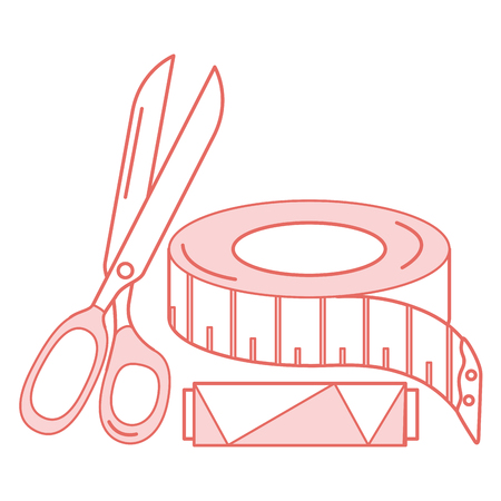 sewing thread tubes with scissors and tape measure vector illustration design