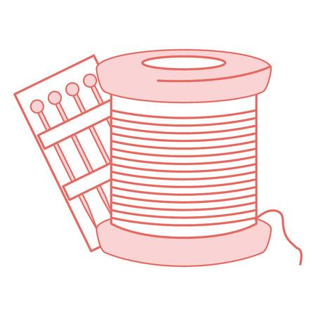 sewing thread tubes with pins vector illustration design Illusztráció