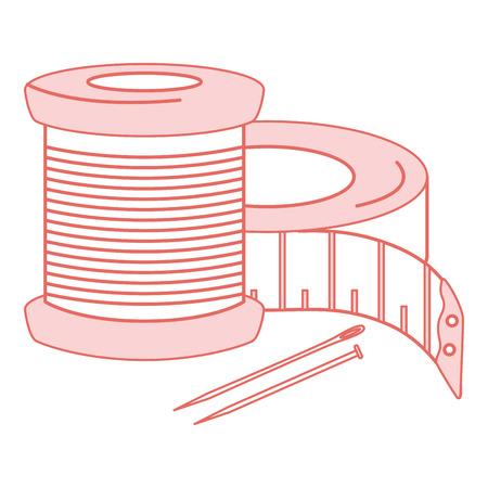 Tubi di filo di cucito con nastro di misurazione e nastro misura illustrazione vettoriale Archivio Fotografico - 85363039