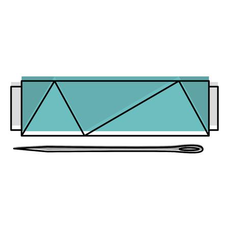 針のベクトルのイラストの設計が付いている縫う糸の管