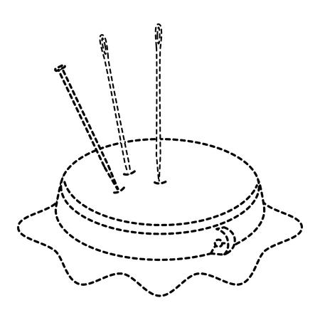 ピンと針ベクトル イラスト デザインと刺繍ドラム