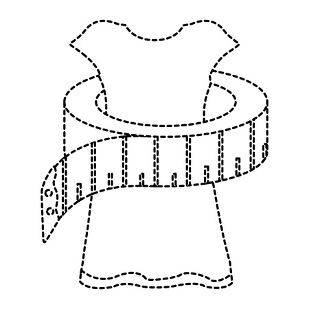 sewing tape measure with manikin vector illustration design