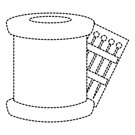 sewing thread tubes with pins vector illustration design Illustration