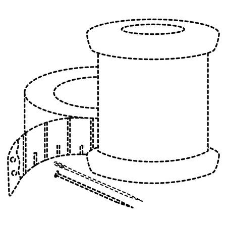 ミシン針と巻尺ベクトル イラスト デザイン スレッド チューブ