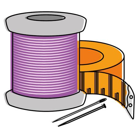 바늘과 테이프 측정 벡터 일러스트 레이 션 디자인 바느질 스레드 튜브