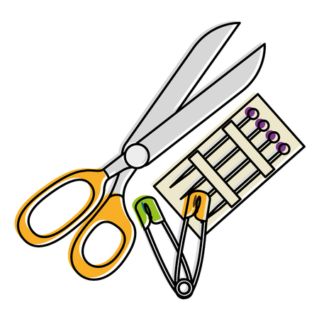 sewing scissors with pins and hooks vector illustration design