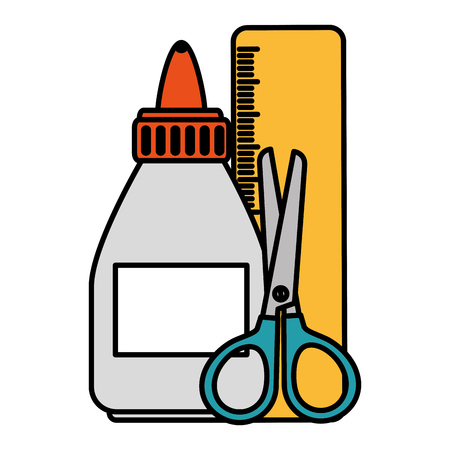 glue bottle with rule and scissors vector illustration design 向量圖像