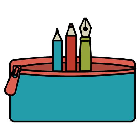 étui à crayon avec stylo et couleurs illustration vectorielle design Vecteurs