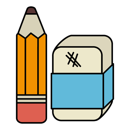pencil school with eraser vector illustration design