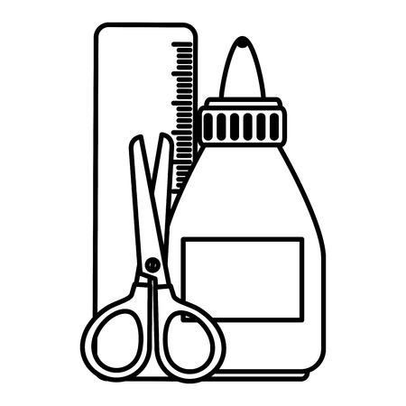 glue bottle with rule and scissors vector illustration design Ilustração