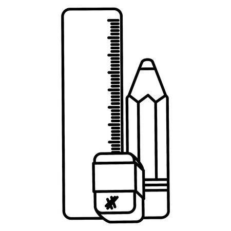 school rule with eraser and pencil vector illustration design