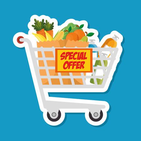 supermarket shopping trolley cartoon vector illustration graphic design Illustration