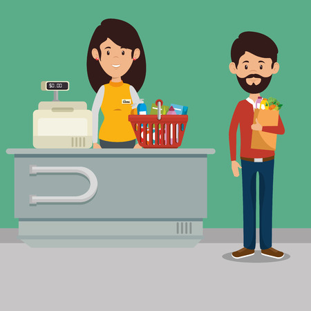 supermaket store counter desk with woman cashier in uniform vector illustration graphic design