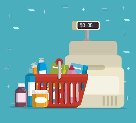 スーパー マーケット storecash レジスタ ベクトル イラスト グラフィック デザイン